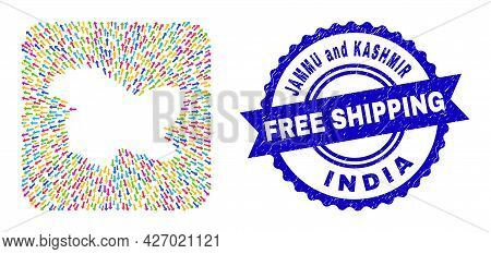 Vector Mosaic Jammu And Kashmir State Map Of Straight Arrows And Grunge Free Shipping Seal.
