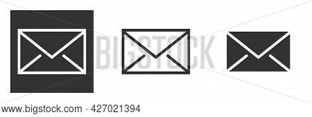 Mail Envelope Icon. Line, Glyph And Filled Outline Colorful Version, Mail Envelope Outline And Fille