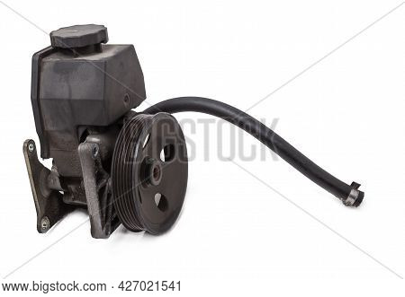 Vane Pump Or Hydraulic Power Steering Pump On A White Background Engine Parts. Spare Parts Auto Cata
