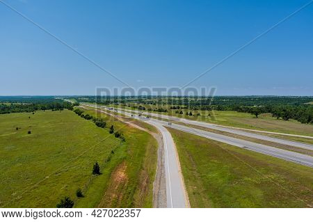 Panorama Top View Of Original Route 66 Roadbed Near Clinton Oklahoma The Historic Its Route 66 Desig
