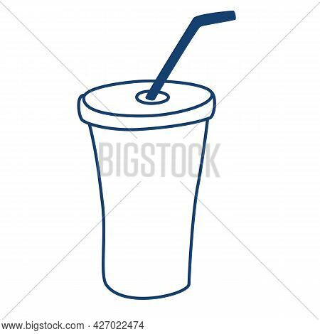 Silhouette Glass Disposable For Drinks. Plastic Cup With A Tube Contour. Fresh Cold Beverage Symbol.