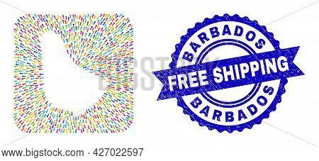 Vector Mosaic Barbados Map Of Leaving Arrows And Grunge Free Shipping Badge. Mosaic Barbados Map Cre
