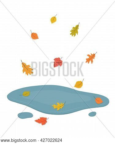 Puddle And Falling Leaves. Autumn. Isolated On White Background. Cartoon Style Vector Illustration.