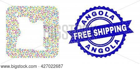 Vector Mosaic Angola Map Of Delivery Arrows And Rubber Free Shipping Stamp. Mosaic Angola Map Create