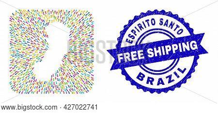 Vector Mosaic Espirito Santo State Map Of Abandon Arrows And Grunge Free Shipping Seal Stamp. Mosaic