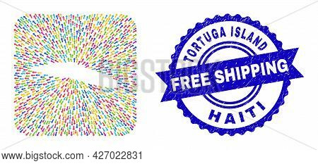 Vector Mosaic Tortuga Island Of Haiti Map Of Emigration Arrows And Rubber Free Shipping Seal. Collag