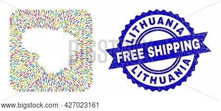 Vector Collage Lithuania Map Of Delivery Arrows And Rubber Free Shipping Seal Stamp. Collage Lithuan