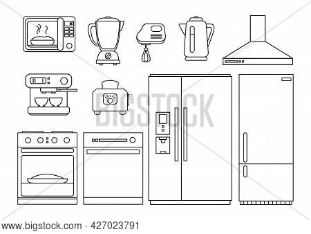 Set Of Kitchen Appliances Online. Refrigerator, Oven, Toaster, Mixer And Other Appliances In The Kit