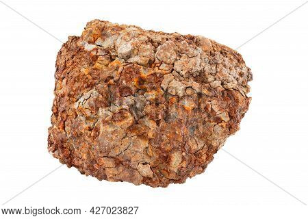 Large Piece Of Metallurgical Ferrous Iron Stone Ore Isolated On Whie Background