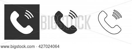 Icon And Symbol Of Conversation, Call, Communication, Telephone Receiver. Communication And Communic