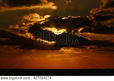 Sky Over The Mediterranean Sea In Northern Israel During Sunset