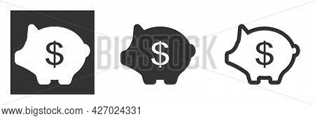 Piggy Bank Icon Isolated On Background. Piggy Bank With A Dollar Sign On The Side. Baby Pig Piggy Ba