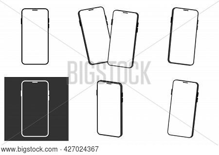 Realistic Smartphone Mockup Isolated On White Background. Communication Mean, Modern Gadget Model Pr