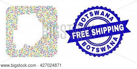Vector Collage Botswana Map Of Moving Arrows And Rubber Free Shipping Stamp. Mosaic Botswana Map Con