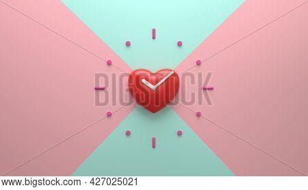 Heart Shape Clock On The Wall Loving Time 3d Rendering Illustration