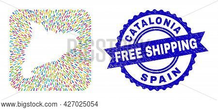Vector Collage Catalonia Map Of Movement Arrows And Rubber Free Shipping Stamp. Collage Catalonia Ma