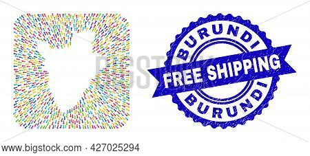 Vector Collage Burundi Map Of Out Arrows And Scratched Free Shipping Seal Stamp. Collage Burundi Map