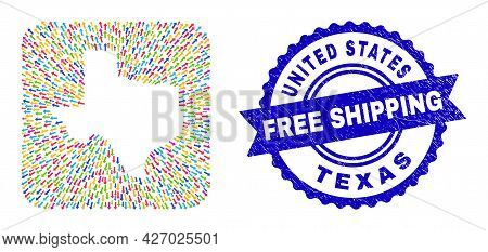 Vector Mosaic Texas State Map Of Leaving Arrows And Rubber Free Shipping Badge. Mosaic Texas State M