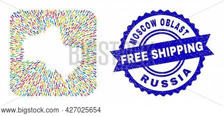 Vector Mosaic Moscow Region Map Of Arrows And Rubber Free Shipping Stamp. Mosaic Moscow Region Map D
