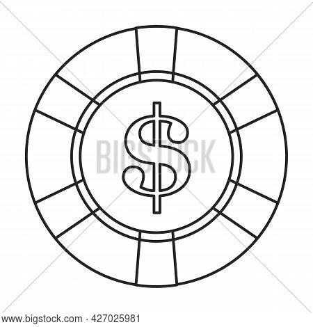 Chip Casino Vector Outline Icon. Vector Illustration Stack On White Background. Isolated Outline Ill