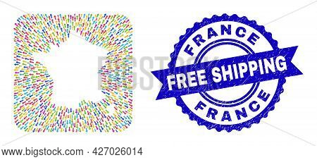 Vector Mosaic France Map Of Abandon Arrows And Scratched Free Shipping Badge. Mosaic France Map Cons