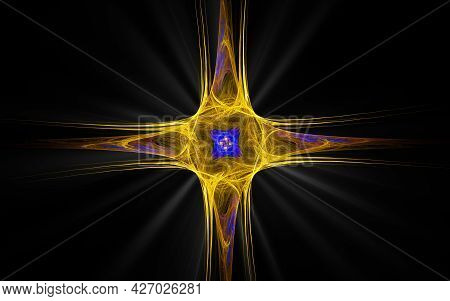 Abstract Illustration Of A Computer Generated Fantastic Star In Various Shapes And Shades On A Black
