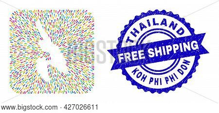 Vector Collage Koh Phi Don Map Of Evacuation Arrows And Grunge Free Shipping Stamp. Collage Koh Phi
