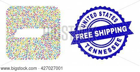 Vector Collage Tennessee State Map Of Straight Arrows And Rubber Free Shipping Stamp. Collage Tennes