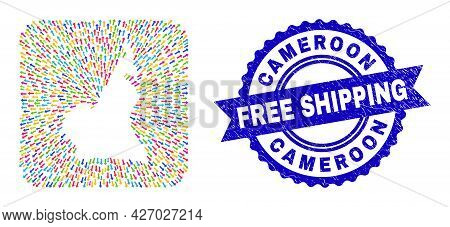 Vector Collage Cameroon Map Of Away Arrows And Rubber Free Shipping Seal Stamp. Collage Cameroon Map