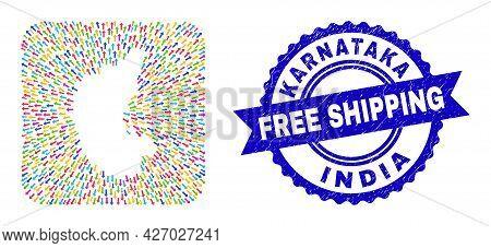 Vector Mosaic Karnataka State Map Of Away Arrows And Scratched Free Shipping Stamp. Mosaic Karnataka