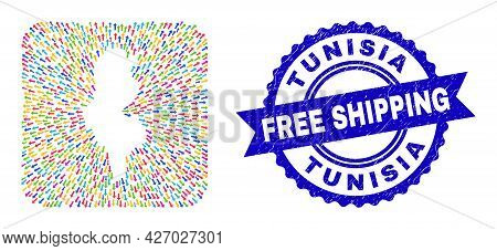 Vector Collage Tunisia Map Of Straight Arrows And Scratched Free Shipping Stamp. Collage Tunisia Map