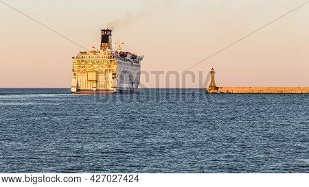 Gdynia, Poland - 22 April 2016: Stena Line Ferries Leaving The Port Of Gdynia At Sunset Time. Poland