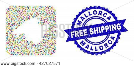 Vector Mosaic Mallorca Map Of Arrows And Grunge Free Shipping Seal. Collage Mallorca Map Designed As