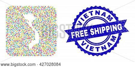 Vector Mosaic Vietnam Map Of Pointer Arrows And Grunge Free Shipping Stamp. Collage Vietnam Map Desi