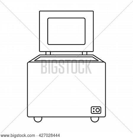 Freezer Vector Outline Icon. Vector Illustration Refrigerator Fridge On White Background. Isolated O