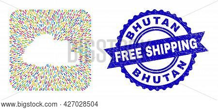 Vector Mosaic Bhutan Map Of Arrows And Rubber Free Shipping Badge. Mosaic Bhutan Map Constructed As