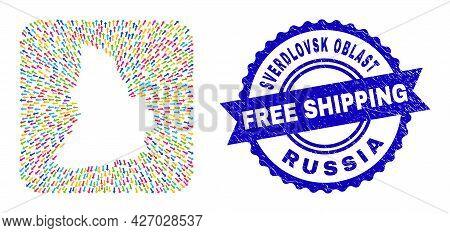 Vector Collage Sverdlovsk Region Map Of Emigration Arrows And Grunge Free Shipping Badge. Mosaic Sve