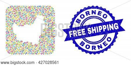 Vector Collage Borneo Map Of Pointing Arrows And Rubber Free Shipping Seal Stamp. Collage Borneo Map