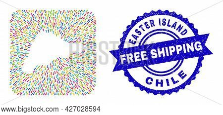 Vector Collage Easter Island Map Of Moving Arrows And Rubber Free Shipping Stamp. Collage Easter Isl