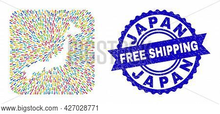 Vector Collage Japan Map Of Navigation Arrows And Grunge Free Shipping Badge. Collage Japan Map Crea