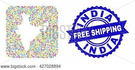 Vector Mosaic India Map Of Movement Arrows And Grunge Free Shipping Seal. Mosaic India Map Construct