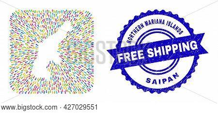 Vector Mosaic Saipan Island Map Of Emigration Arrows And Rubber Free Shipping Badge. Mosaic Saipan I