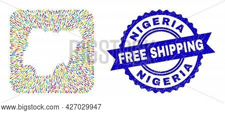 Vector Mosaic Nigeria Map Of Arrows And Scratched Free Shipping Badge. Mosaic Nigeria Map Designed A