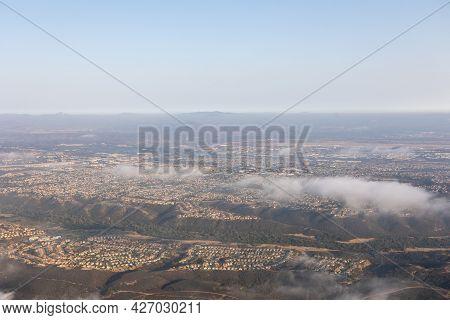 Aerial View Of Carmel Valley With Suburban Neighborhood San Diego, California, Usa.