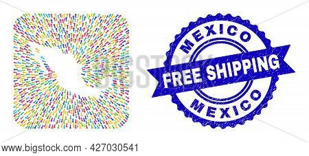 Vector Collage Mexico Map Of Migration Arrows And Scratched Free Shipping Seal. Collage Mexico Map D