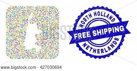 Vector Mosaic North Holland Map Of Movement Arrows And Grunge Free Shipping Badge. Mosaic North Holl