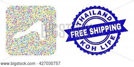 Vector Mosaic Koh Lipe Map Of Abandon Arrows And Grunge Free Shipping Badge. Mosaic Koh Lipe Map Cre