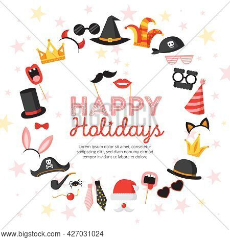 Photo Booth Props Poster With Happy Holidays Symbols Flat Vector Illustration