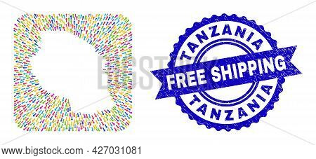 Vector Collage Tanzania Map Of Straight Arrows And Rubber Free Shipping Stamp. Mosaic Tanzania Map D