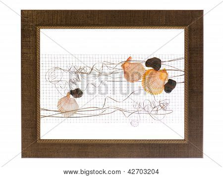 Decorative Photo Frame With Abstract Composition Of Shells, Stones And Wire Isolated On White Backgr